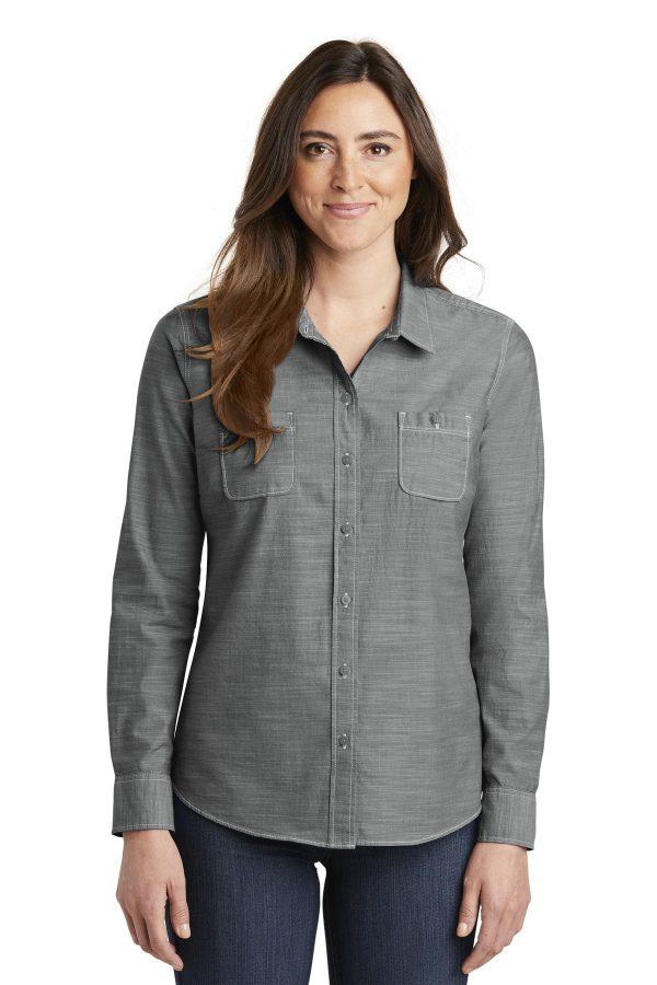 Port Authority Ladies Slub Chambray Shirt Grey