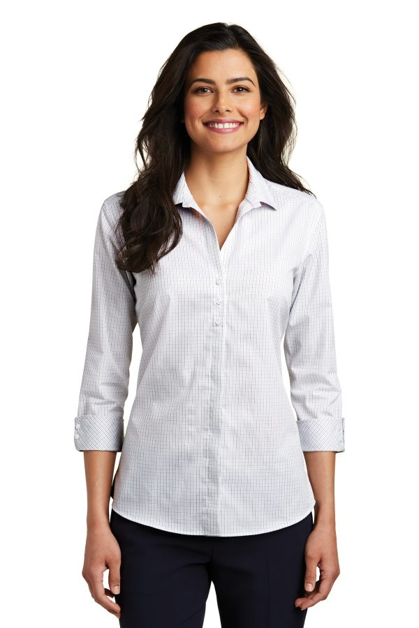 DISCONTINUED Port Authority Ladies 3/4-Sleeve Micro Tattersall Easy Care Shirt White Grey