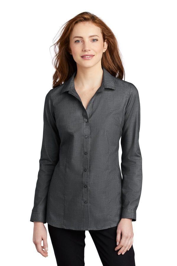 Port Authority Ladies SuperPro Oxford Stripe Shirt Black Grey Steel