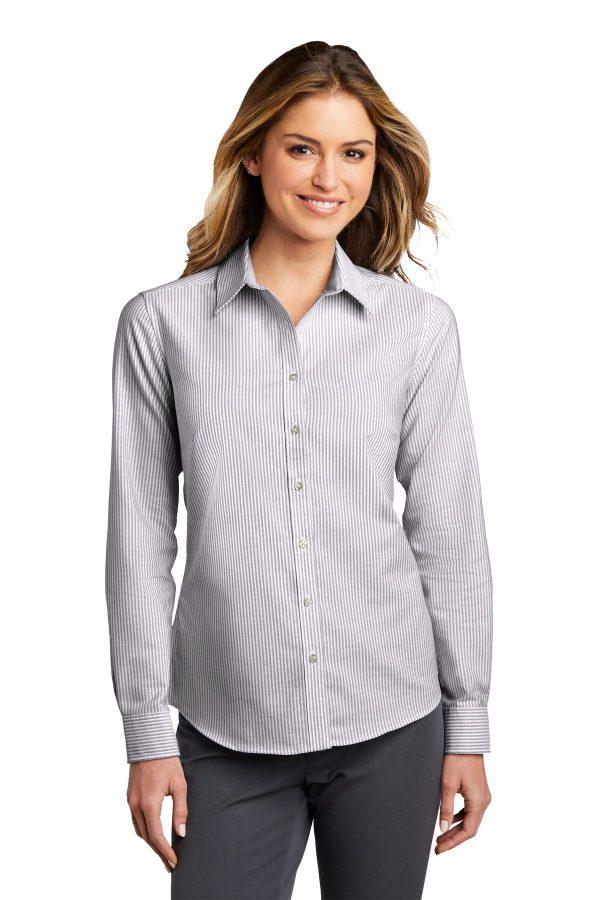 Port Authority Ladies SuperPro Oxford Stripe Shirt Black White