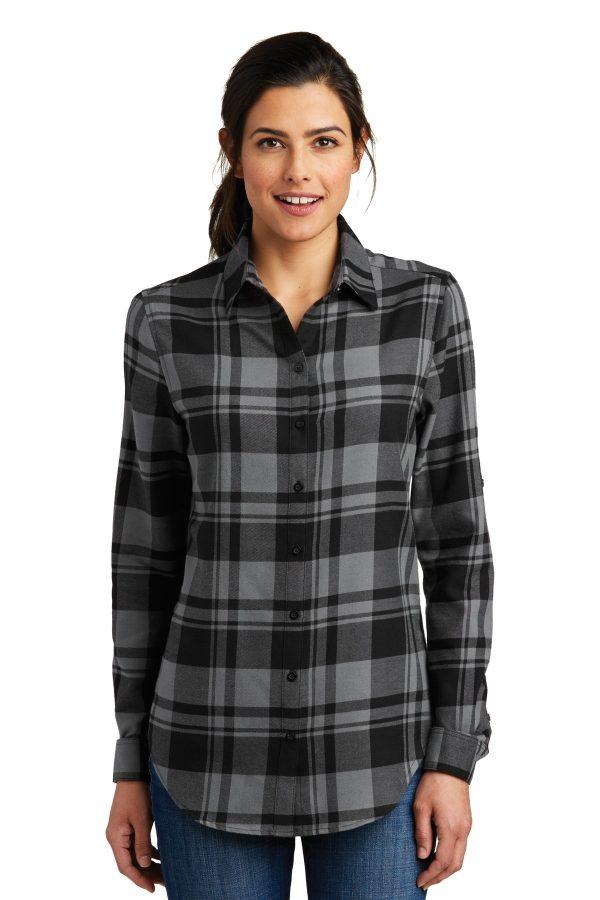 Port Authority Ladies Everyday Plaid Shirt Grey/ Black