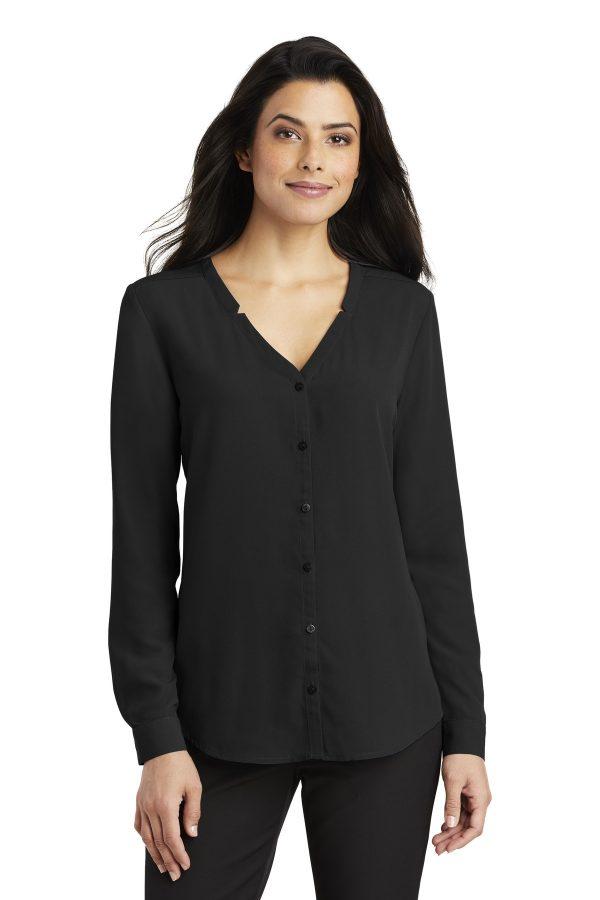 Port Authority Ladies Long Sleeve Button-Front Blouse Black