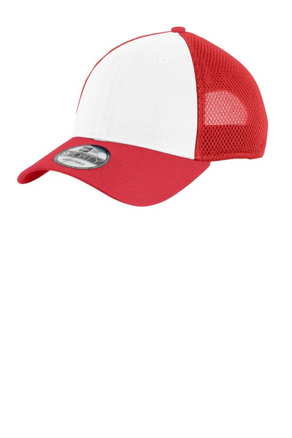 New Era Snapback Contrast Front Mesh Cap White Scarletred