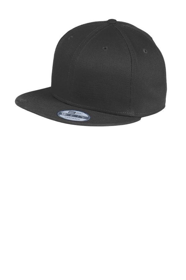 New Era Flat Bill Snapback Cap Black
