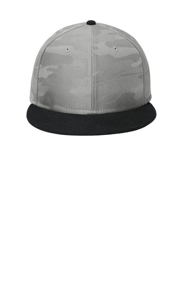New Era Camo Flat Bill Snapback Cap Rainstorm Grey Camo Graphite